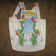 Vintage Childs Apron Painted and Embroidered Treasure