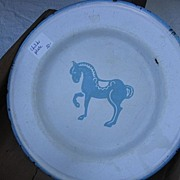 Enamel Ware Childs Plate with Blue Horse