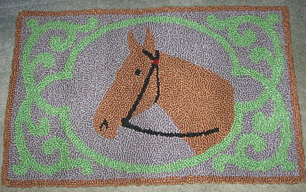 Hand Hooked Rug Folky Horse Rug Pristine Mennonite Made