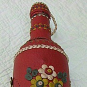 Handmade Red Leather Decorated Bottle Rare and Unusual