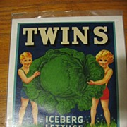 Vintage Twins Label Unusual & Rare!! Lithographed California 1941 Frame It