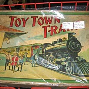 Unique Paper Toy in Original Box Early 1900s Train Set by Milton Bradley