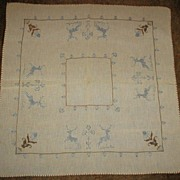 Victorian Needlework Tablecloth with Handsome Stags and Flowers