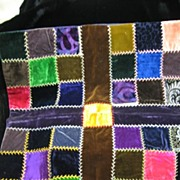 Early Fancy Stitched Velvet Pillow Top Crazy Quilt Type Stitching
