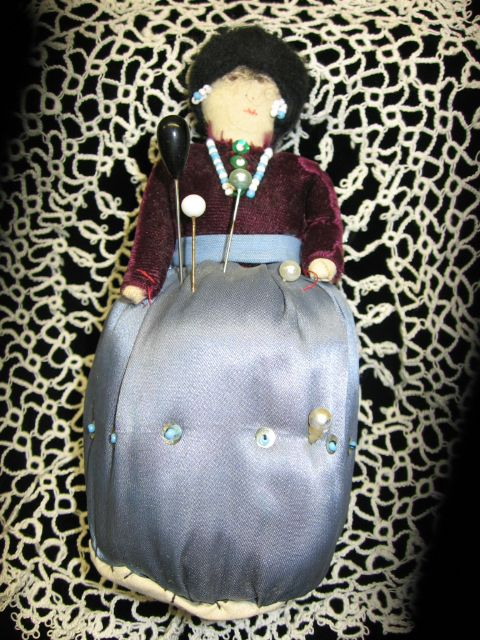 Pin Cushion Doll American Indian Look from Early 1900s