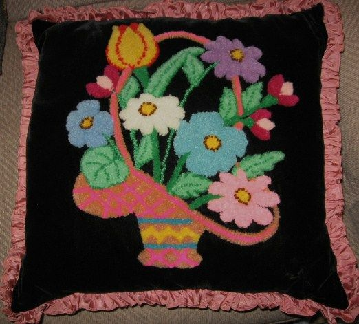 Lancaster Pa Mennonite Made Velvet Stumpwork Basket of Flowers