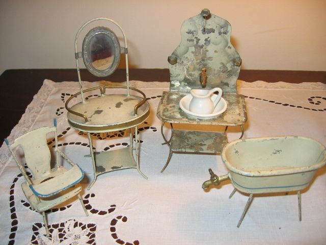 Rare Early 1900s Dollhouse Bathroom Furniture Made in Germany