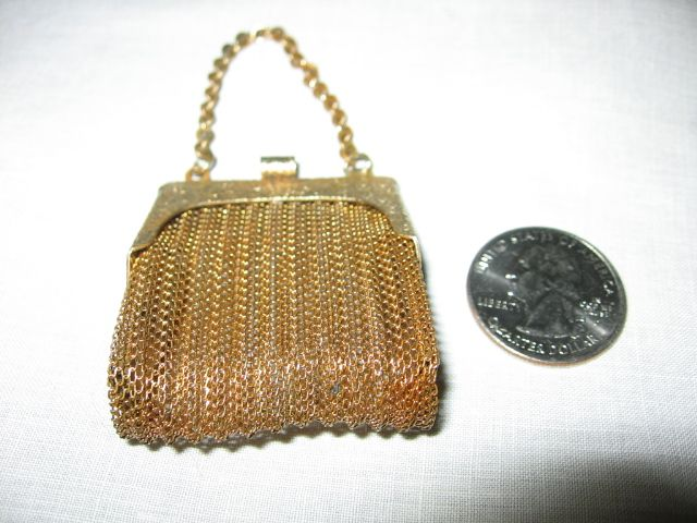 Miniature Gold Mesh Purse for Doll