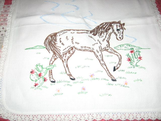 Horse Lovers Embroidered Dresser Scarf with Horse