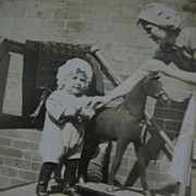 Old Postcard Small Child with Really Great Toy Horse RPPC