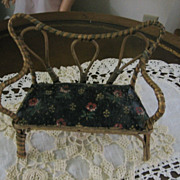 Doll Settee or Bench with Painted Oil Cloth Seat Very Old & Unusual