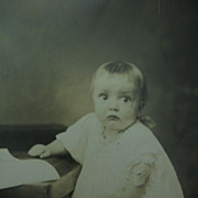 Who Me? Adorable Victorian Era Baby Photo Gonna Cry?? RPPC