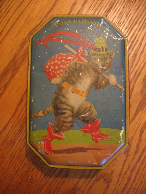 Vintage Puss in Boots Toffee Tin England Blue Bird Toffee Tin