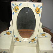 Vintage Toy Dressing Table with Mirror German Made Dresser Bureau