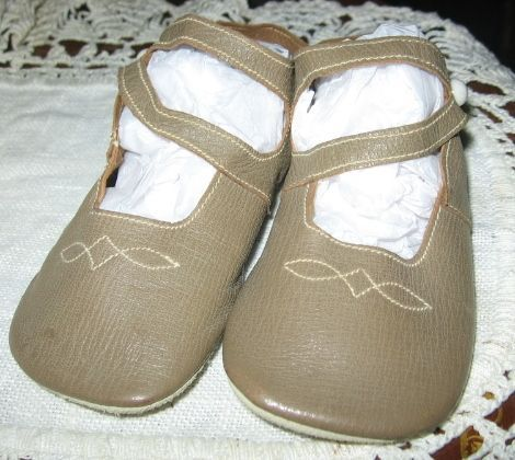 Adorable Leather Baby Shoes from 1920-30s Excellent Condition
