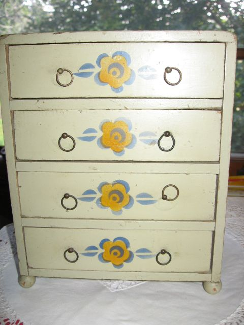 Vintage Wooden Doll Dresser with Floral Decorations