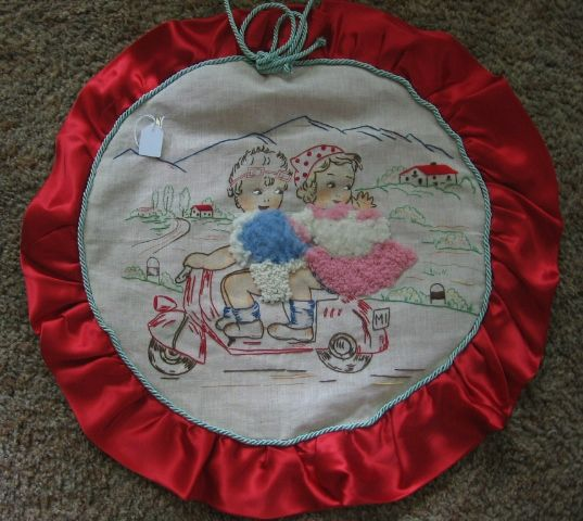 Whimsical Embroidered Pillow Cover Kids on Motor Scooter Cycle Bike