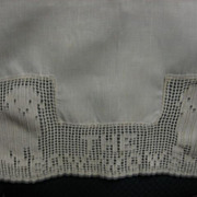 Wonderful Early 1900s Childs Bib with Crocheted Dogs Bow Wows