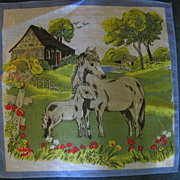 Childs Vintage Hankie with Horse and Pony Farm Scene