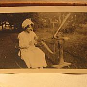 Unusual Photo Early 1900s  Lady Winding Yarn