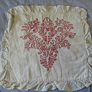 Victorian Redwork Pillow Cover Turkey Red Pillowcase