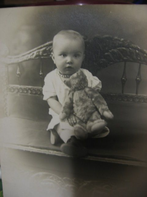 Unused Real Photo Postcard Baby with Early Teddy Bear