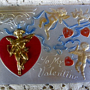 Early 1900s Novelty Valentine Postcard with Goldtone Metal Cupid
