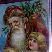 Antique PC Santa Claus in Rust Colored Robe Victorian Postcard