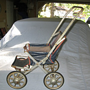 1930s Blue Canvas Doll Stroller with Metal Wheels
