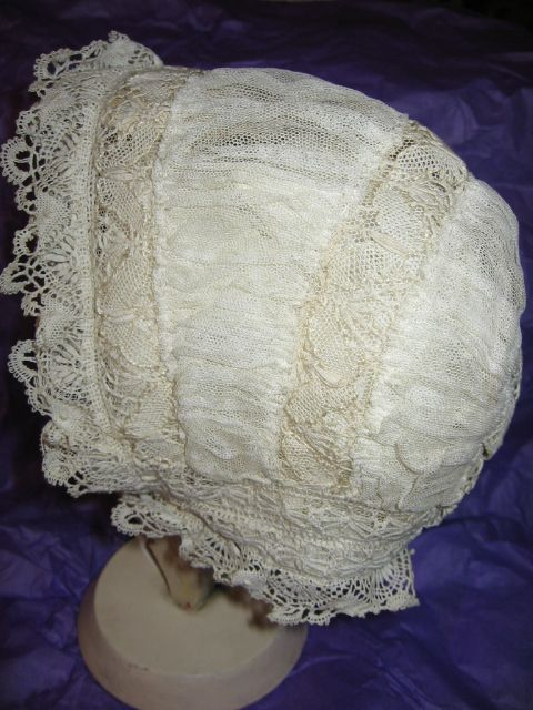 Antique Net Lace Baby Bonnet for Baby or Doll