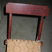 Antique Child or Doll Chair RARE Wonderful Childs Upholstered Seat Folding Chair for Doll or Bear