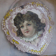 Unusual Diecut Heart Shaped Valentine with Lovely Girl Scrap Late 1800s