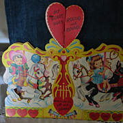 Large Carousel Vintage Valentine Kids Ponies Honeycomb New Old Stock