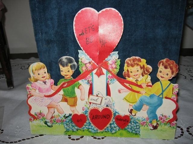 Large NOS Vintage Valentine Kids at May Pole