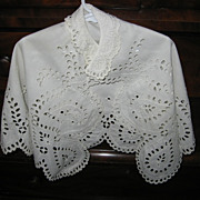 Antique Embroidered Eyelet Scalloped Christening Cape Exquisite 1800s Handiwork!!