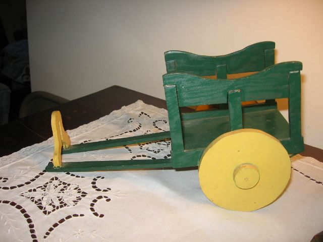 Vintage Homemade Donkey & Green Painted Toy Cart