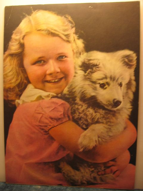 Vintage Calendar Print Pals Blonde Girl with Pup