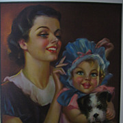 Vintage Mother Baby and Puppy Calendar Art Print