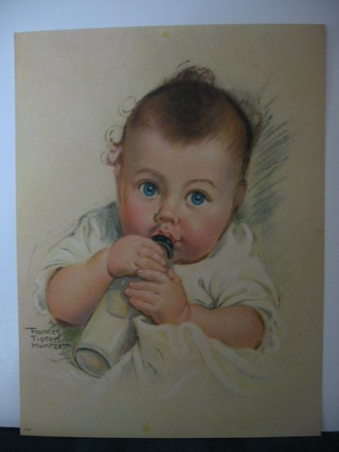 Frances Tipton Hunter Baby Sucking On Bottle Print