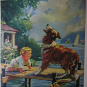 Adorable Collie Dog and Baby Calendar Print by Hy Hintermeister