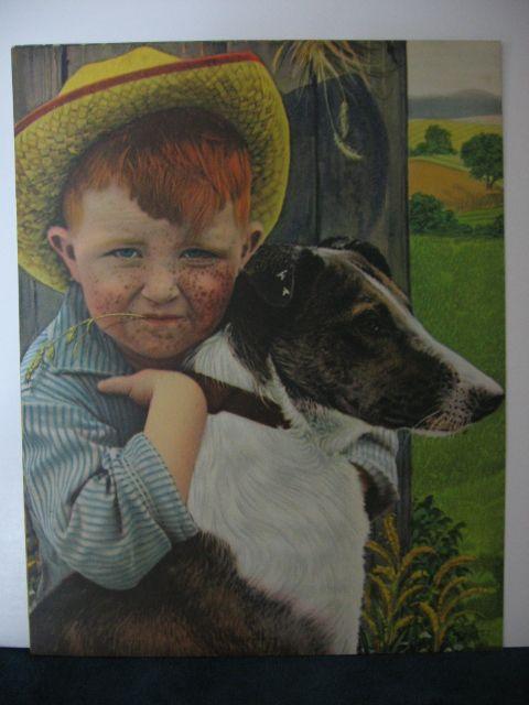Cute Freckled Face Farm Boy and Faithful Dog