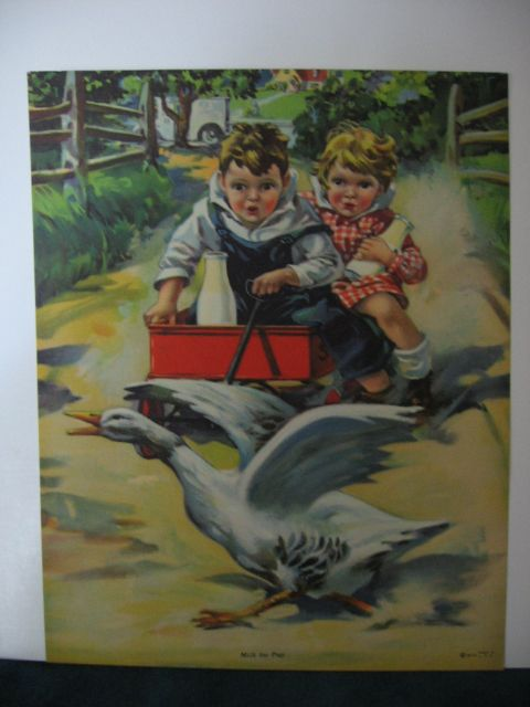 Favorite Vintage Calendar Print Milk For Pep Kids with Milk Bottles