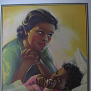 Vintage Print Black African American Mother and Child