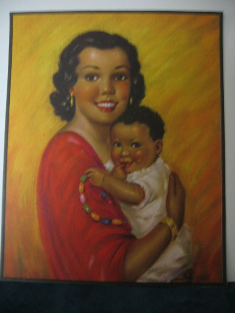 Vintage Print Hispanic Mother with Child