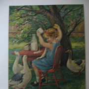 Cute Calendar Print with Little Girl Having Picnic & Her Guests