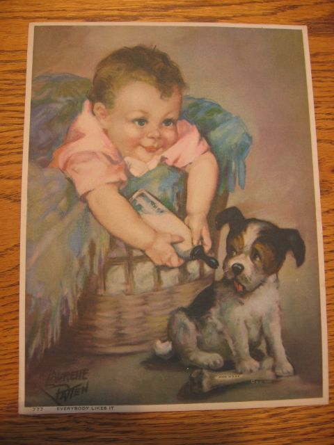 1930s Vintage Print Baby Feeding Bottle to Puppy