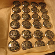 Air Force Military 13 Star and Eagle Shield Buttons on Original Card 24 NOS