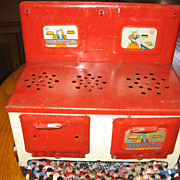 Marx Red and White Metal Pretty Maid Toy Stove Oven 1940s Era