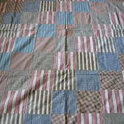 Vintage Handstitched Striped Red Blue Tan Gray Quilt Top