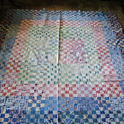 Vintage Quilt Top Postage Stamp Design Totally Hand Stitched Lancaster Co Pa